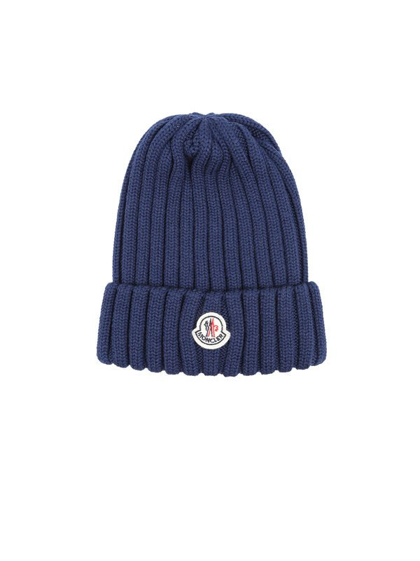 ff2710882 Hats - MONCLER - Blue wool ribbed knit beanie hat