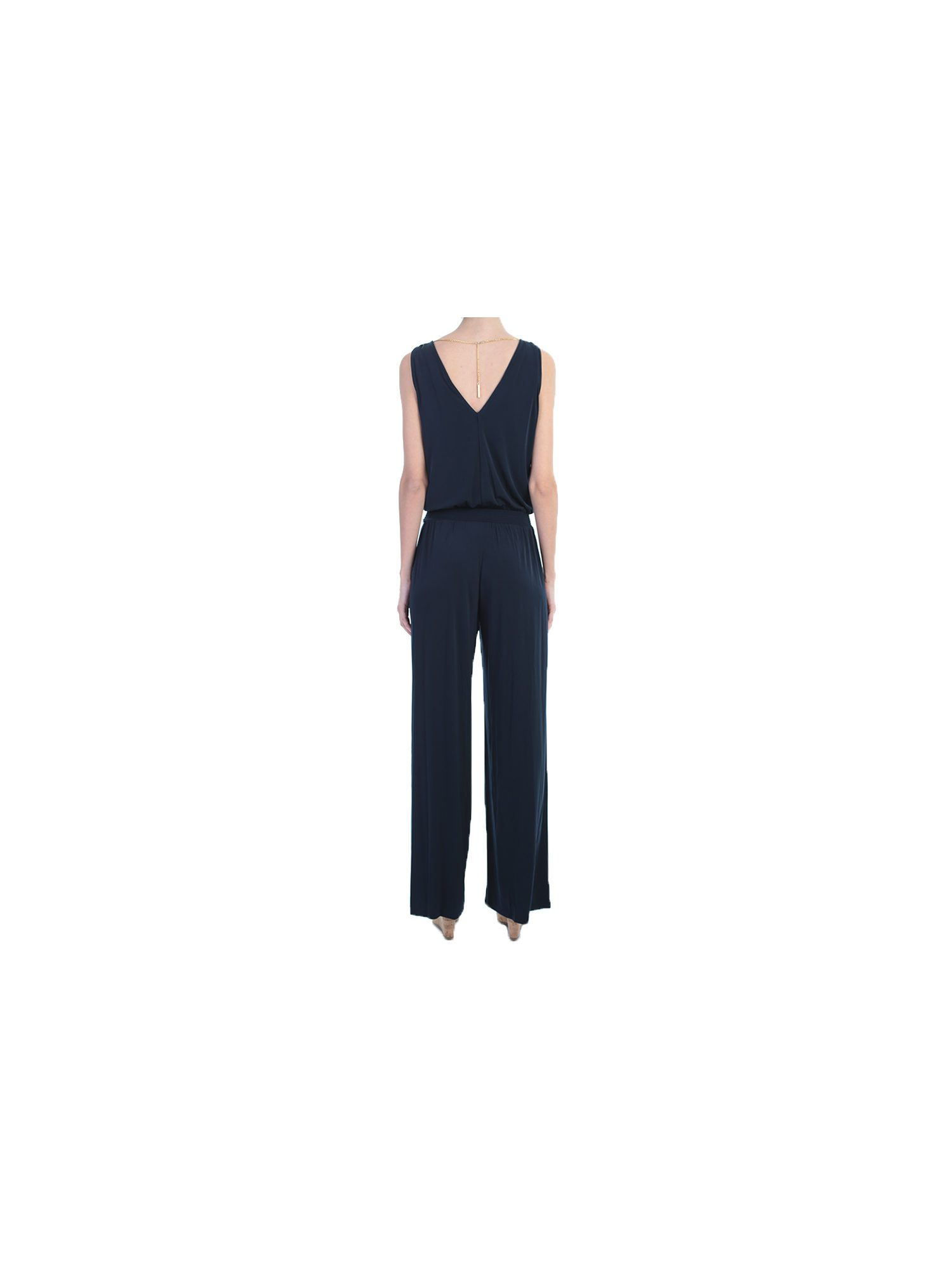 trousers michael michael kors blue stretch jersey overall. Black Bedroom Furniture Sets. Home Design Ideas