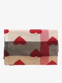 Burberry - Beige modal and cashmere printed hearts scarf